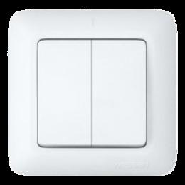 ПРИМА Выключатель двухклавишный скрытый 250В 6А белый (S56-043-B)